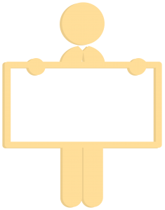 3D man-holding-yellow-board